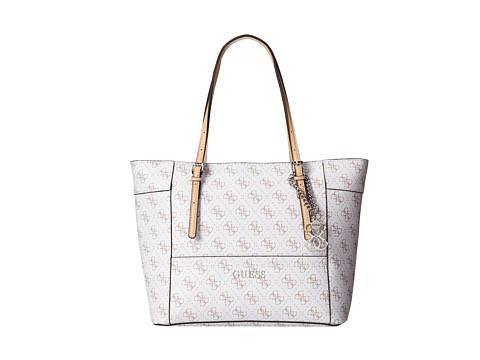 GUESS - Delaney Small Classic Tote (White 1) Tote Handbags