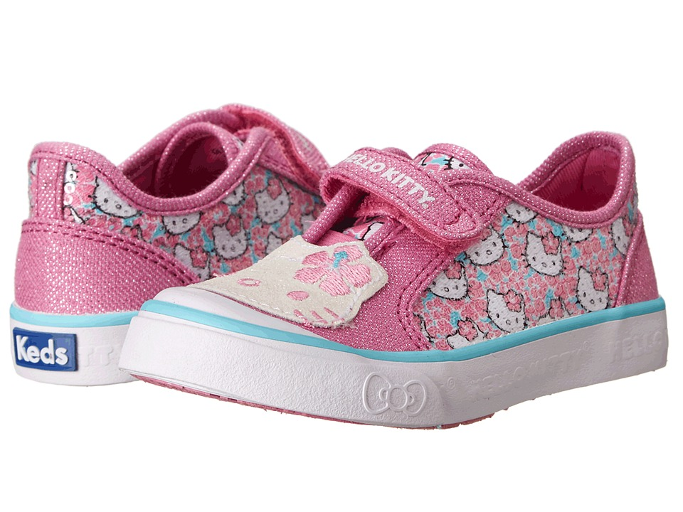 Keds Kids - Glittery-Kitty (Toddler/Little Kid) (Light Pink/Hibiscus Print) Girls Shoes