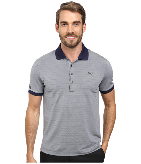 PUMA Golf - Lux Micro Stripe Polo (Peacoat) Men's Short Sleeve Knit