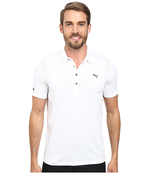 PUMA Golf - Lux Tech Polo (PUMA White) Men's Short Sleeve Knit
