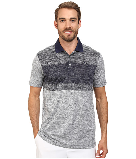 PUMA Golf - Novelty Stripe Polo (Grey Dawn /Peacoat) Men