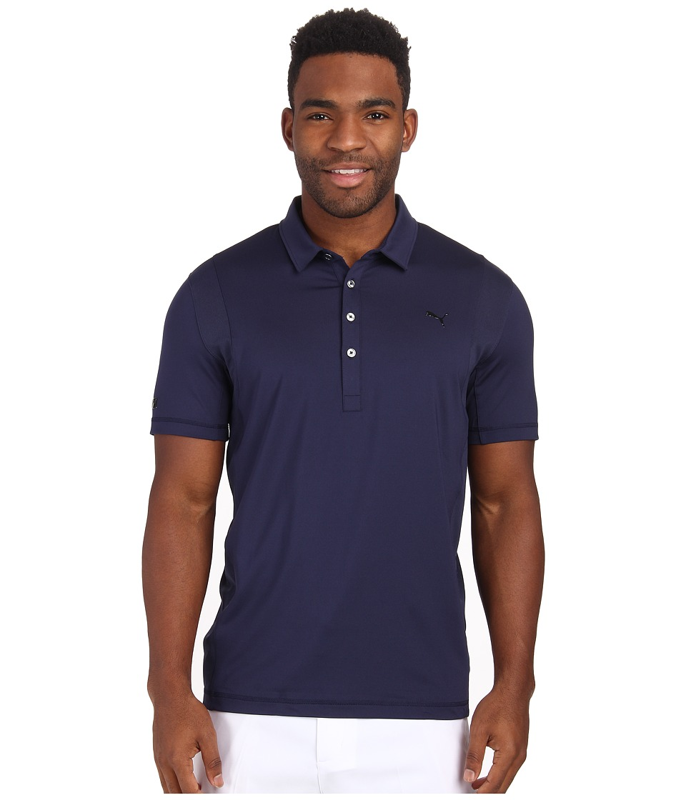 PUMA Golf - Lux Stripe Polo (Peacoat) Men's Short Sleeve Pullover
