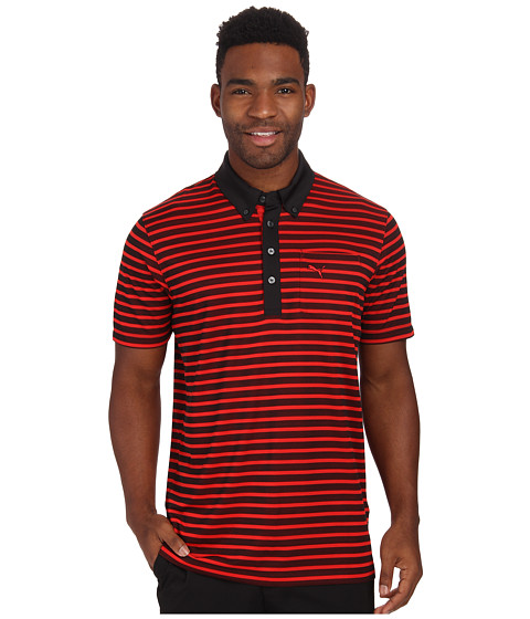 PUMA Golf - Stripe Pocket Polo (Puma Red) Men