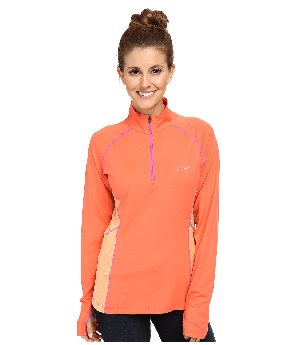 Columbia - Freeze Degree III Half-Zip L/S (Coral Flame/Peach/Foxglove Stitch) Women's Long Sleeve Pullover