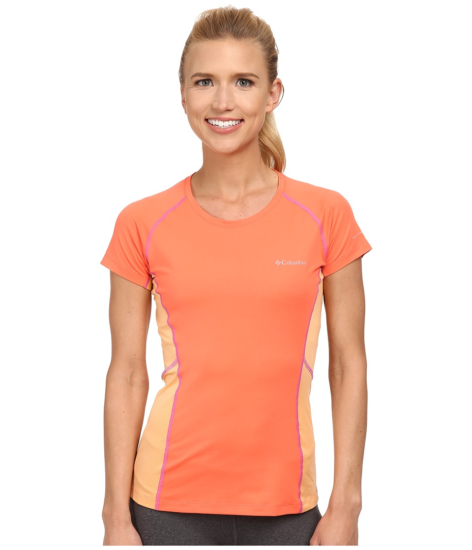 Columbia - Freeze Degree III S/S Tee (Coral Flame/Peach/Foxglove Stitch) Women's Short Sleeve Pullover