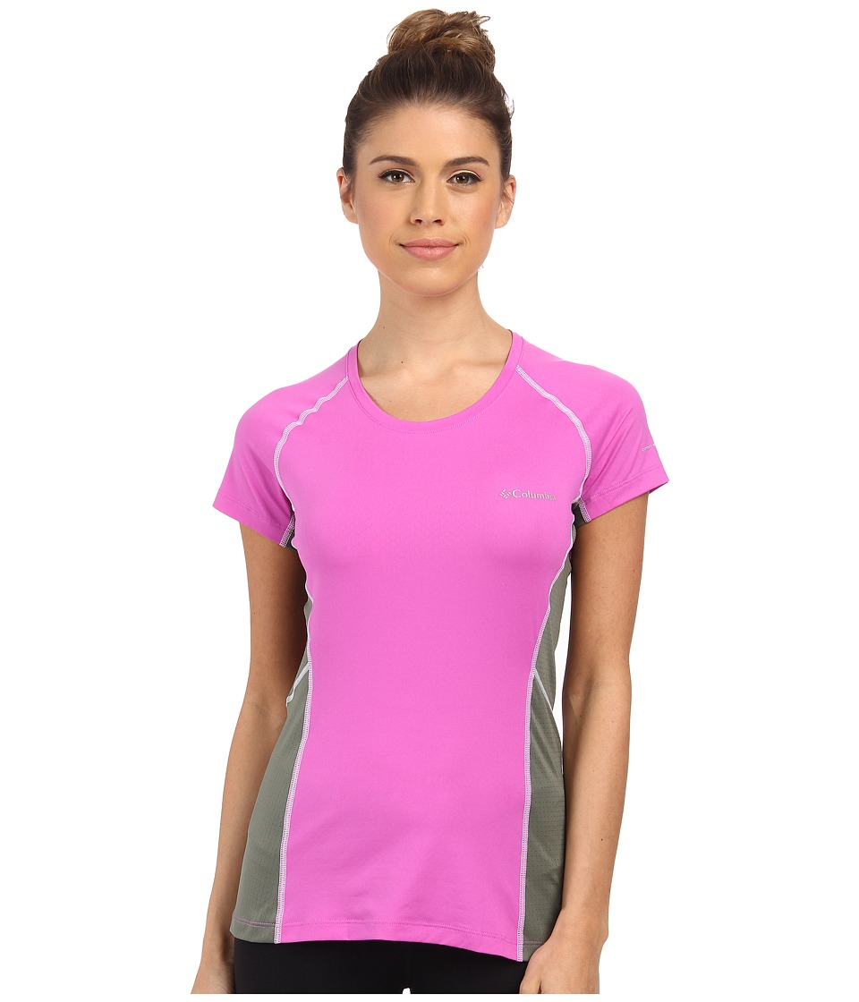 Columbia - Freeze Degree III S/S Tee (Foxglove/Cypress/White Stitch) Women's Short Sleeve Pullover