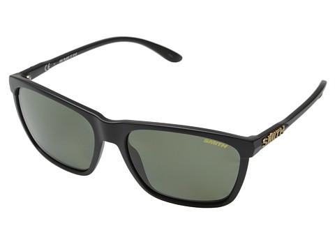Smith Optics Delano (Matte Black/Polar Gray Green Carbonic TLT Lenses) Plastic Frame Fashion Sunglasses