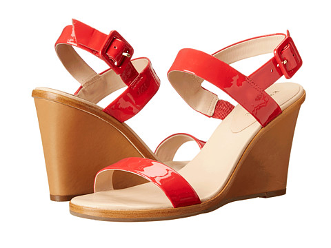 Kate Spade New York - Nice (Red Patent/Natural Vacchetta Heel) Women's Wedge Shoes
