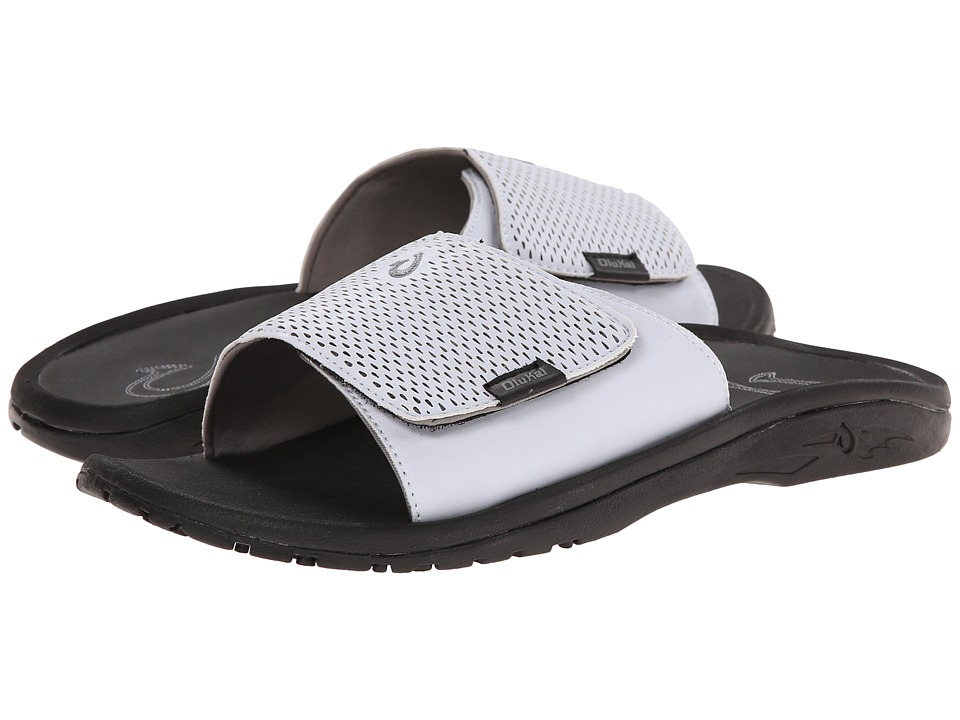 OluKai - Kekoa Slide (White/Black) Men's Sandals