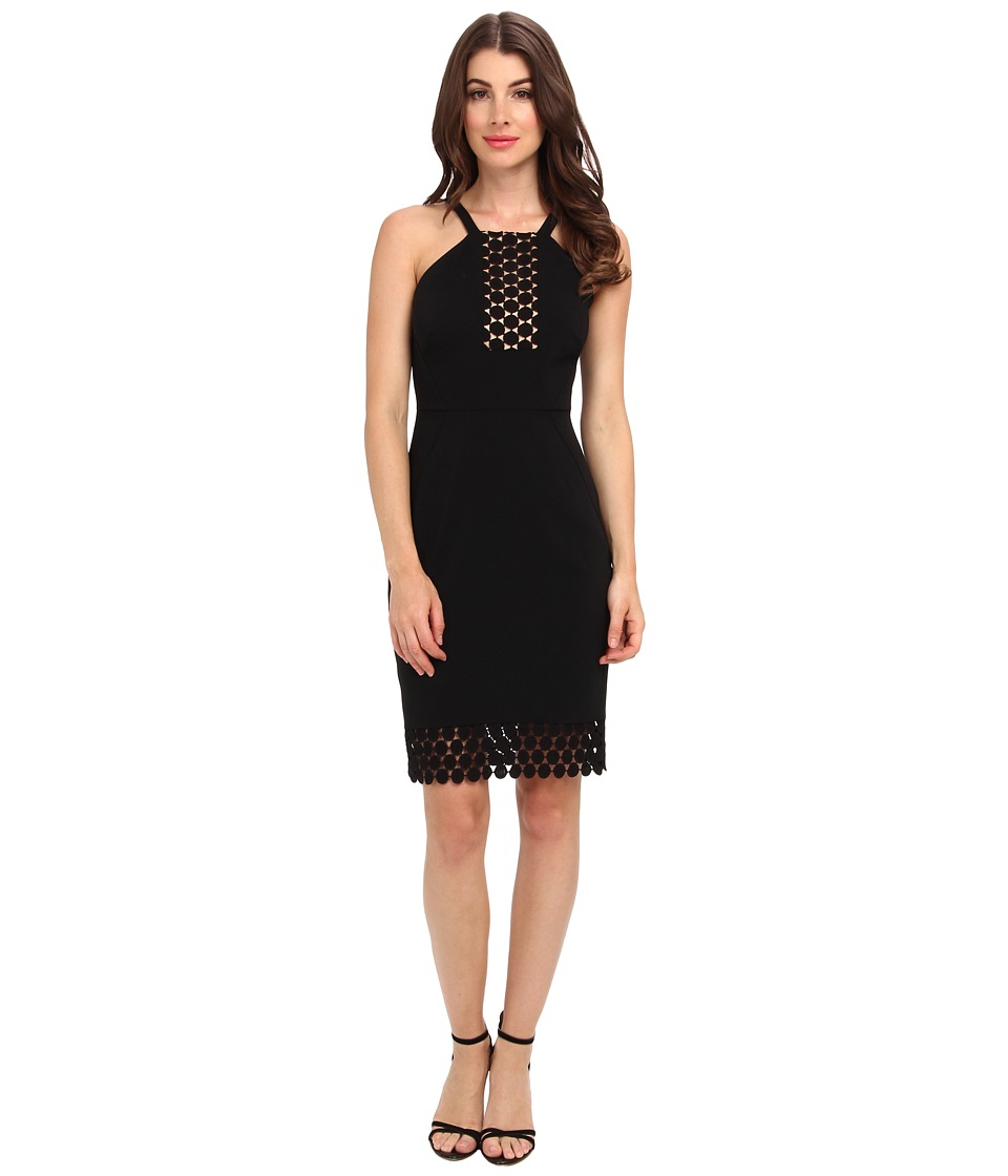 Laundry by Shelli Segal - Crepe Dress w/ Dot Lace Trim (Black) Women