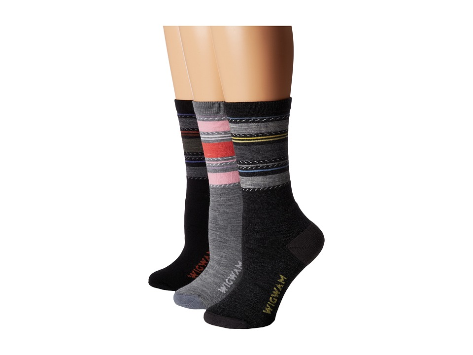 Wigwam - Santa Fe Fusion 3-Pack (Black/Grey/Oxford) Women's Crew Cut Socks Shoes