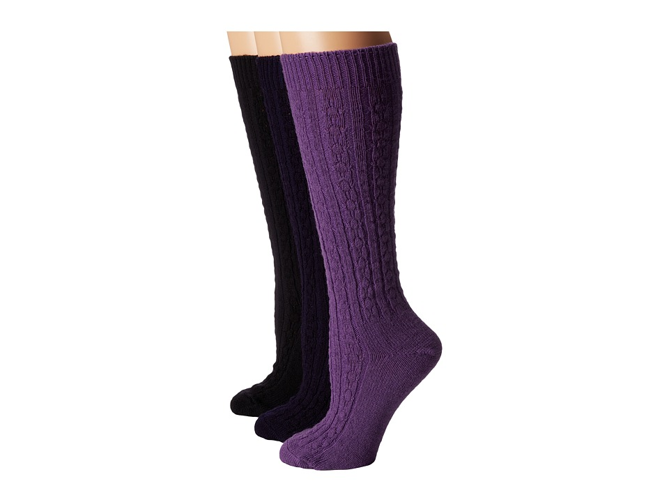 Wigwam - Cable Knee High 3-Pack (Plum Sew/Black/Navy) Women's Crew Cut Socks Shoes