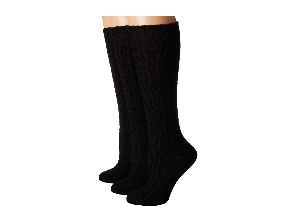 Wigwam - Cable Knee High 3-Pack (Black) Women's Crew Cut Socks Shoes