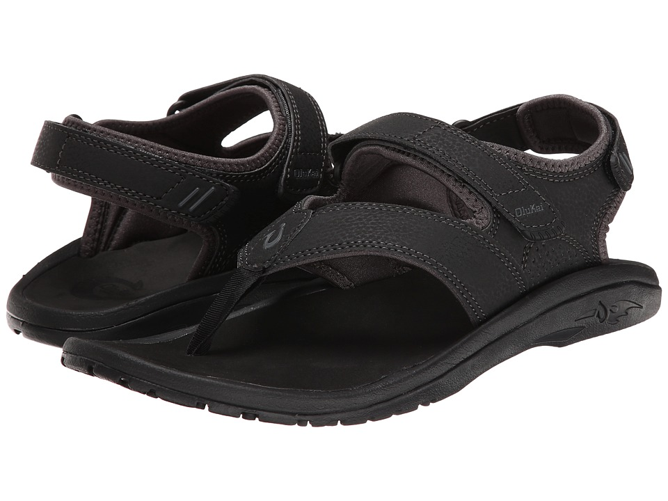 OluKai - 'Ohana Pahu (Black/Dark Shadow) Men's Sandals