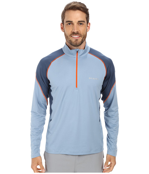 Columbia - Freeze Degree II Half Zip L/S (Dark Mirage/Whale/Tangy Orange Zip & Stitch) Men's Long Sleeve Pullover