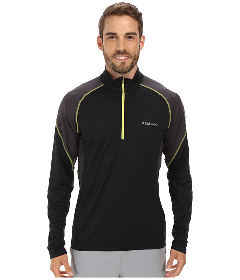 Columbia - Freeze Degree II Half Zip L/S (Black/Shark/Chartreuse Zip & Stitch) Men's Long Sleeve Pullover