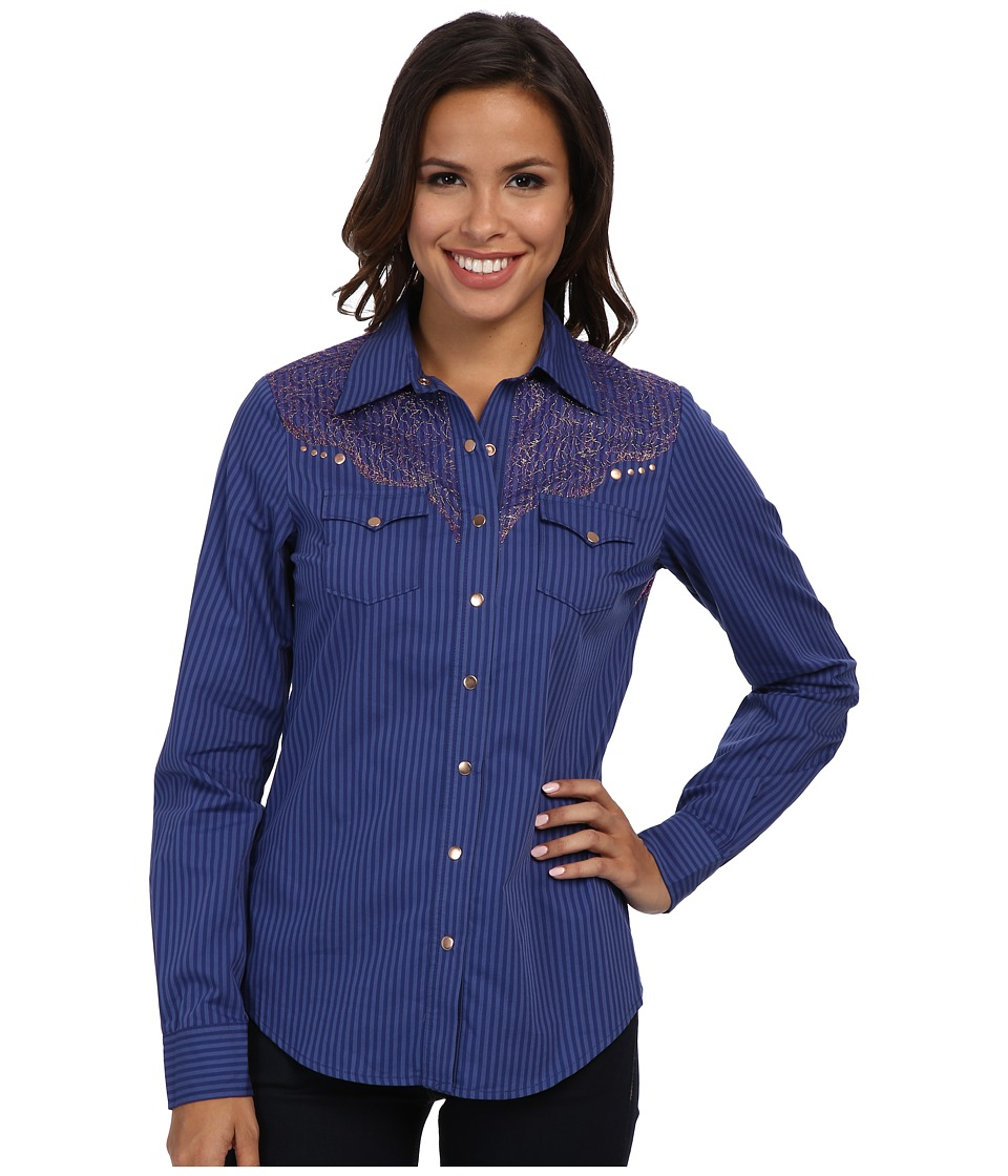 Cruel - L/S Stripe (Navy) Women's Long Sleeve Button Up