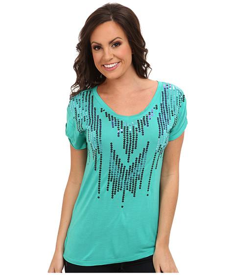 Cruel - Cap Sleeve Rayon Tee (Green) Women's Short Sleeve Pullover