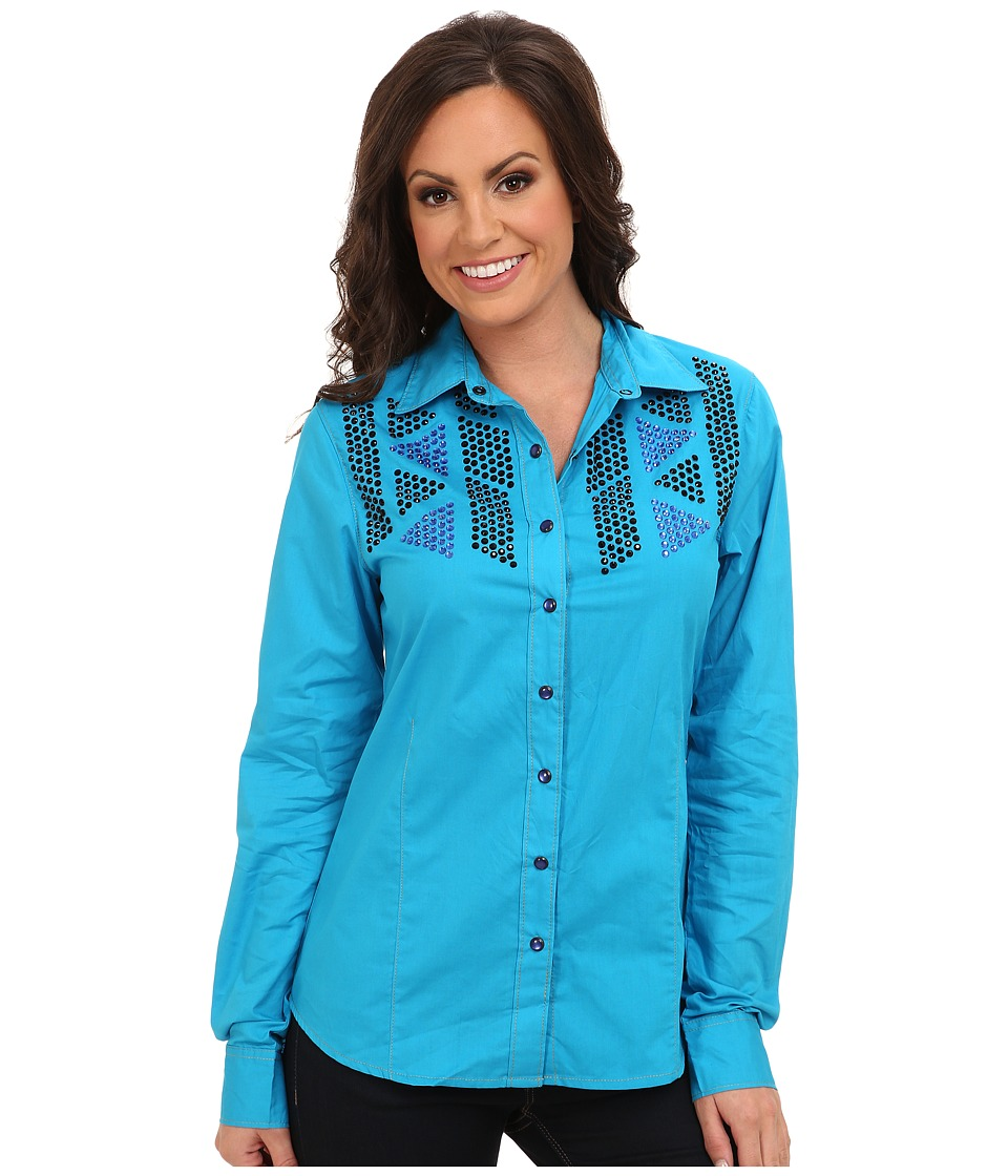 Cruel - Cotton Plain Weave Arena Fit Shirt (Blue) Women's Long Sleeve Button Up