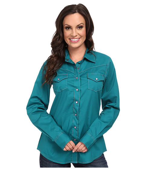 Cruel - Arena Fit Print (Green) Women's Long Sleeve Button Up
