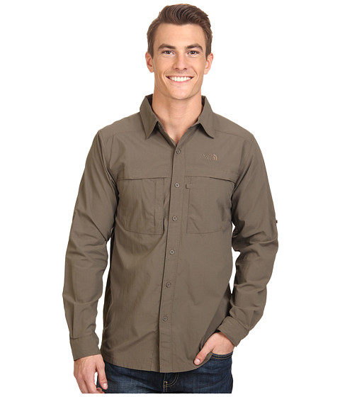 The North Face - Long Sleeve Cool Horizon Shirt (Weimaraner Brown) Men's Long Sleeve Button Up