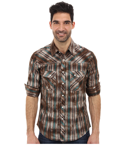 Rock and Roll Cowboy - L/S Snap (Brown) Men's Long Sleeve Button Up