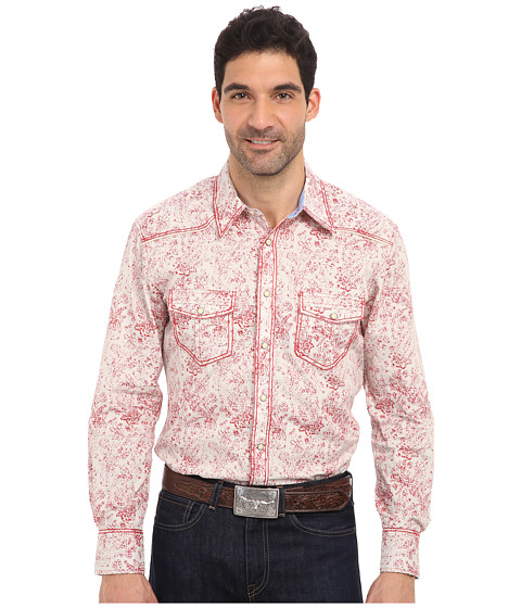Rock and Roll Cowboy - L/S Snap (Red/Natural) Men's Long Sleeve Button Up