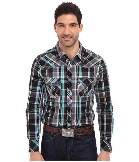 Rock and Roll Cowboy - L/S Snap (Teal) Men's Long Sleeve Button Up
