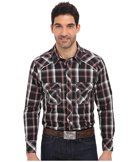 Rock and Roll Cowboy - L/S Snap (Black/Red) Men's Long Sleeve Button Up