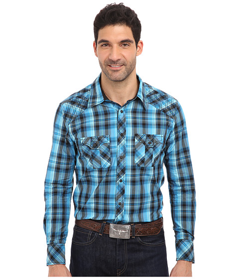 Rock and Roll Cowboy - L/S Snap (Turquoise) Men's Long Sleeve Button Up