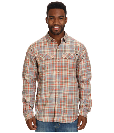 Columbia - Silver Ridge Plaid L/S (Fossil Heathered Plaid) Men's Long Sleeve Button Up