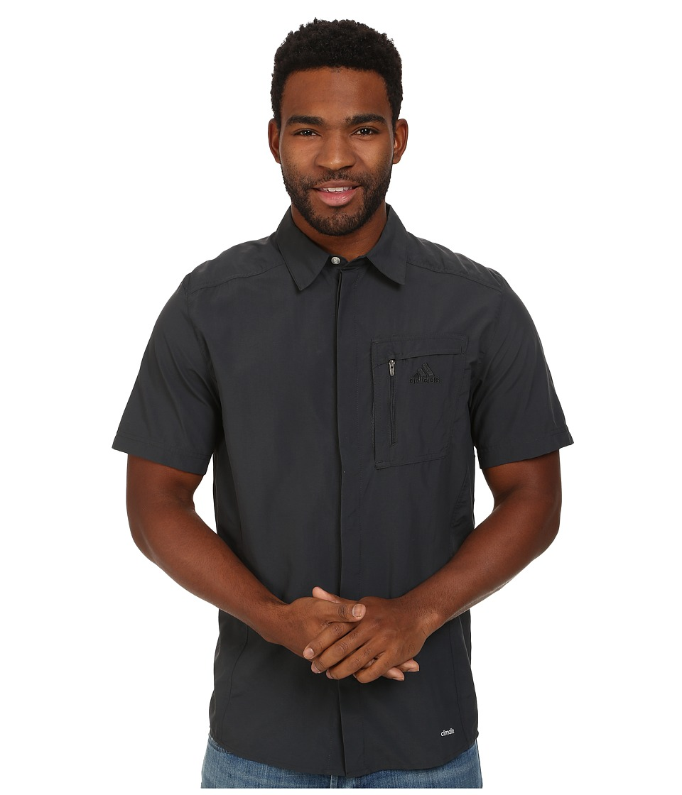 adidas Outdoor - Hiking Wick Short Sleeve Shirt (Dark Grey/Dark Grey) Men's Short Sleeve Button Up