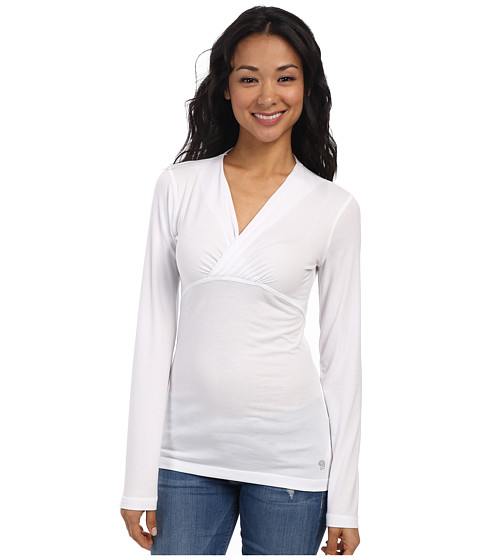 Mountain Hardwear - DrySpun L/S V-Neck Tee (White) Women