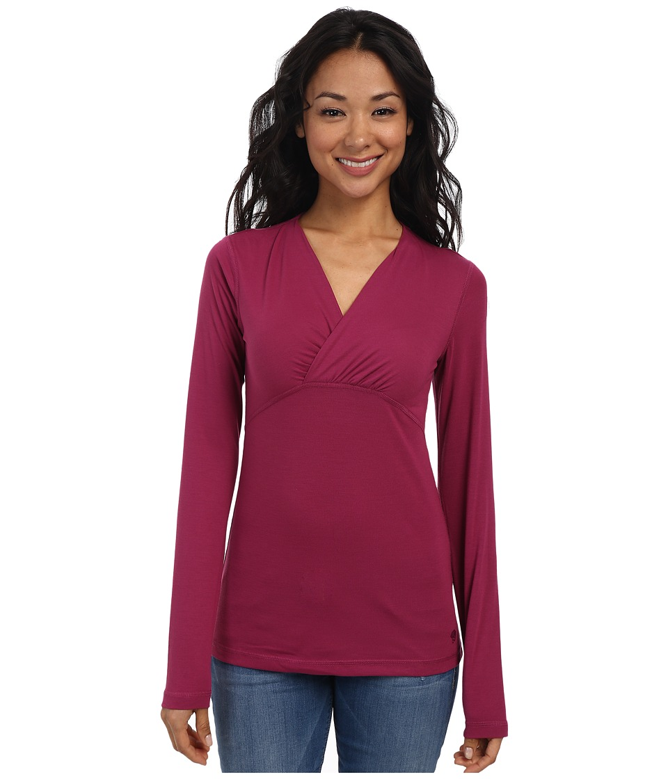 Mountain Hardwear - DrySpun L/S V-Neck Tee (Red Plum) Women
