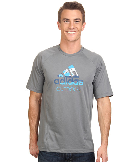 adidas Outdoor - Hiking Dri-Release Logo Tee (Vista Grey) Men