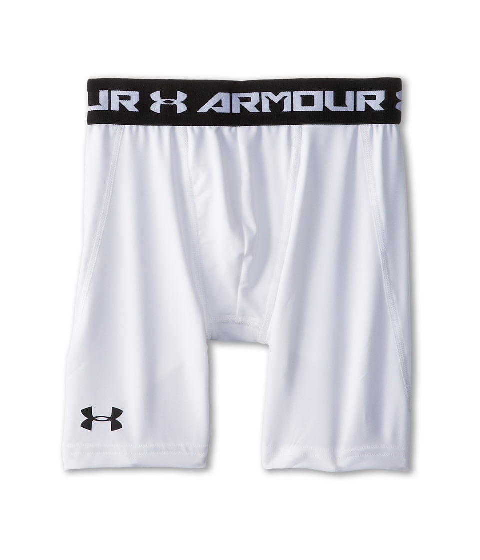 Under Armour Kids - Heatgear(r) Armour(r) Fitted Short Long (Big Kids) (White/Black) Boy's Workout