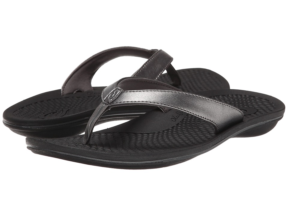 OluKai - Ono (Pewter/Black/Metal Crush/Nappa Wax) Women's Sandals