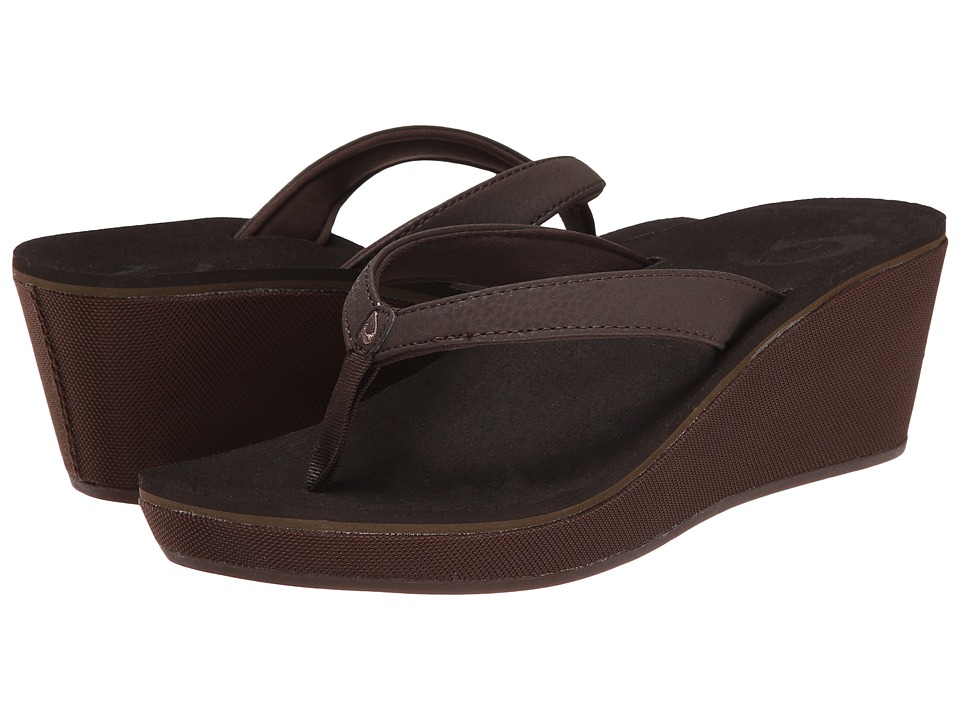 OluKai - Ipo Wedge (Dark Java/Dark Java) Women's Wedge Shoes