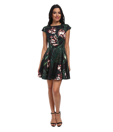 Ted Baker - Florell Palm Flora Skater Jersey Dress (Black) Women's Dress