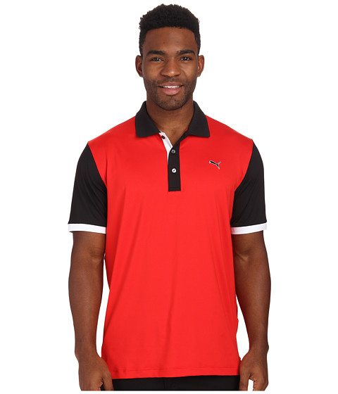 PUMA Golf - Color Block Polo (Puma Red/Puma Black) Men