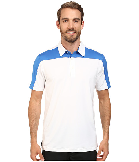 PUMA Golf - Color Block Tech Polo Cresting (White/Strong Blue) Men's Short Sleeve Knit