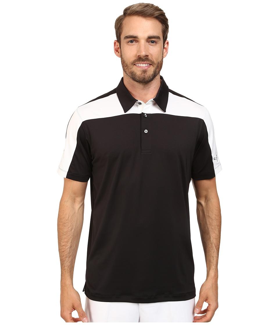 PUMA Golf - Color Block Tech Polo Cresting (Black/White) Men's Short Sleeve Knit