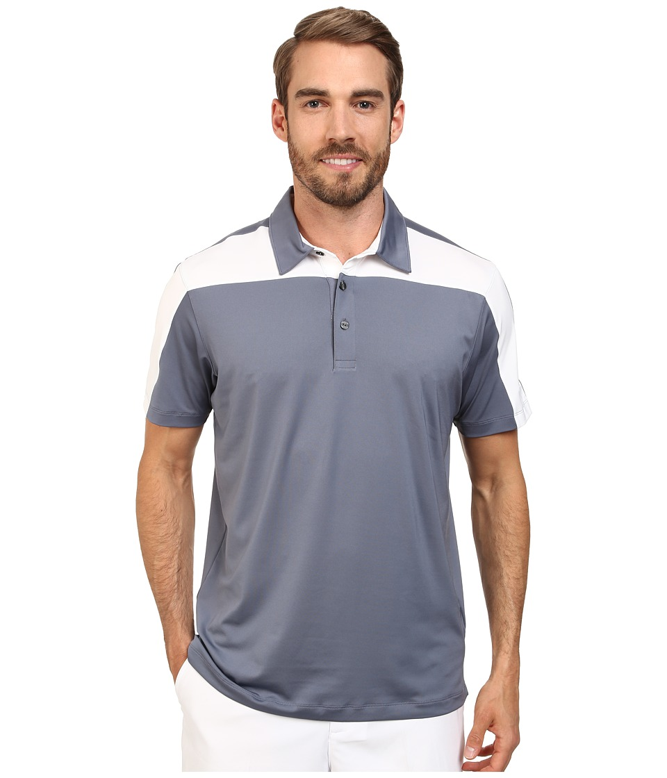 PUMA Golf - Color Block Tech Polo Cresting (Folkstone/White) Men's Short Sleeve Knit
