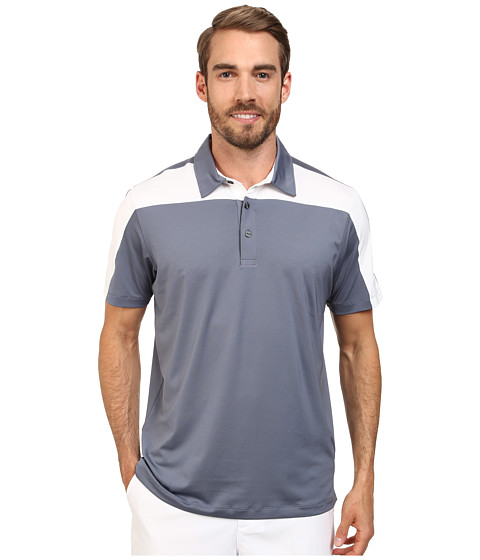 PUMA Golf - Color Block Tech Polo Cresting (Folkstone/White) Men