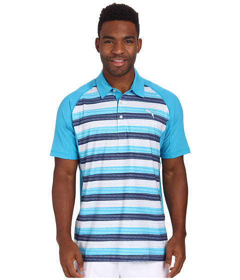 PUMA Golf - Go Time Glitch Polo (Hawaiian Ocean/Peacoat) Men