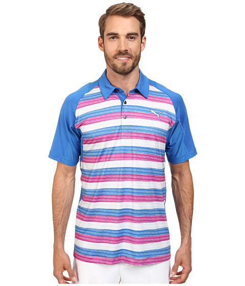 PUMA Golf - Go Time Glitch Stripe Polo (Strong Blue/Viola) Men's Short Sleeve Knit