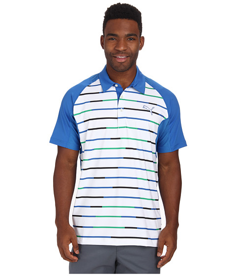 PUMA Golf - Go Time Print Stripe Polo (Hawaiian Ocean/Peacoat) Men