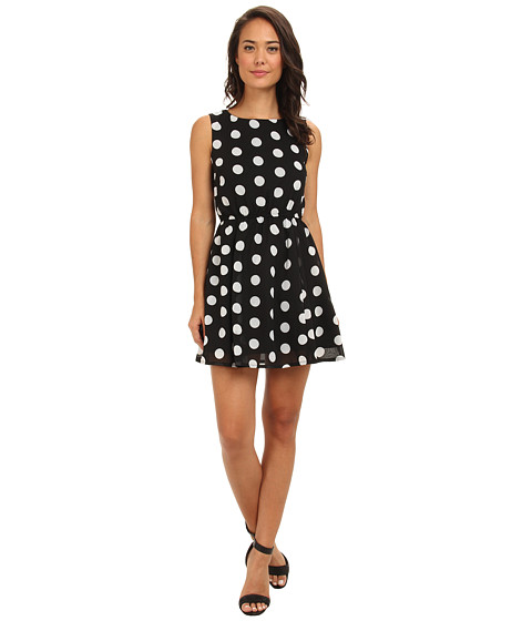 Gabriella Rocha - Polka Dot Skater Dress (Black/White Combo) Women