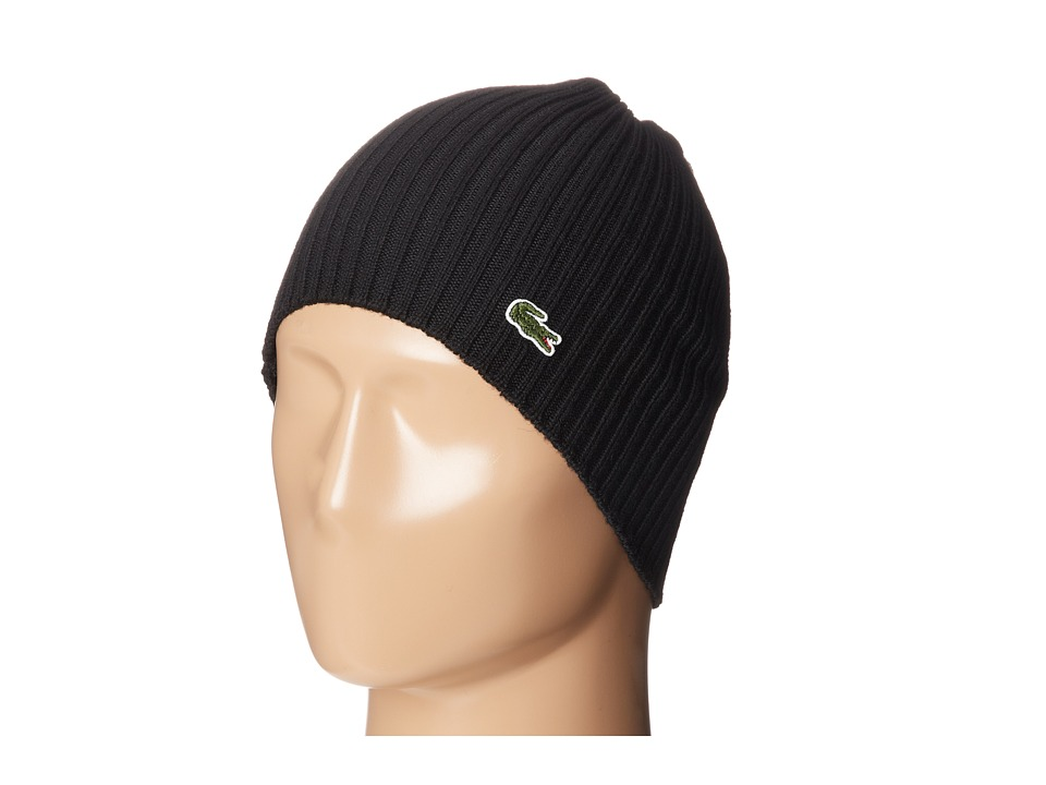 Lacoste - Green Croc Ribbed Wool Knit Beanie (Black) Beanies