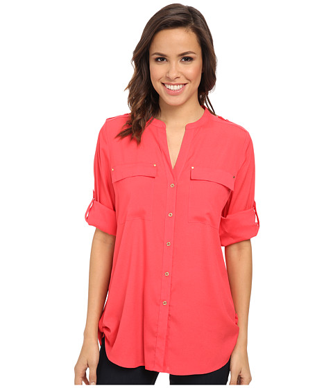 Calvin Klein - Crew Neck Roll Sleeve Top (Watermelon) Women